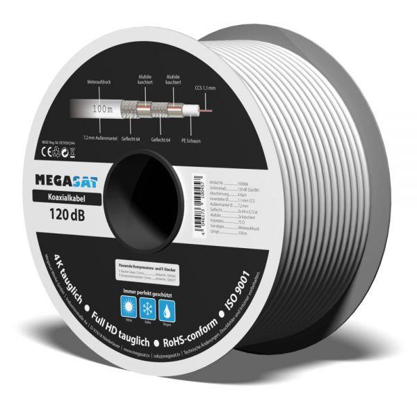 Koaxialkabel 120 dB 120dB 100m 7,2mm 4-fach geschirmt weiß