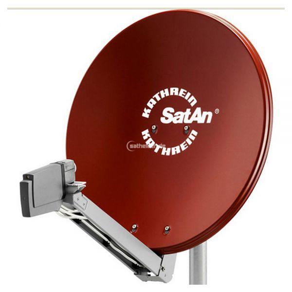 Kathrein CAS 80 Sat Alu Spiegel Antenne rot & UAS 585 Quad LNB