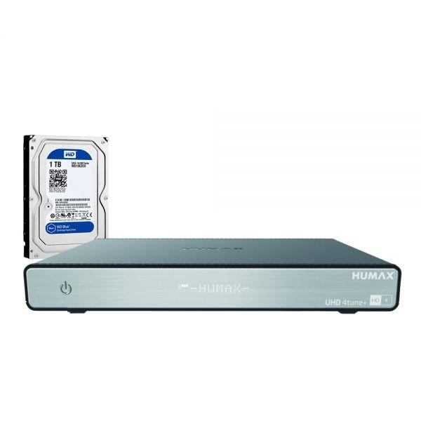 HUMAX UHD 4tune+ mit 1TB Festplatte Sat Receiver 6 Mon. HD+ Karte WLAN Quad Tuner