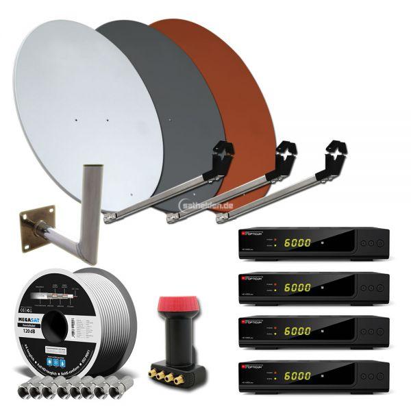 4 Teilnehmer HDTV Sat Anlage HD X300 plus WH 80cm Alu Spiegel Kabel