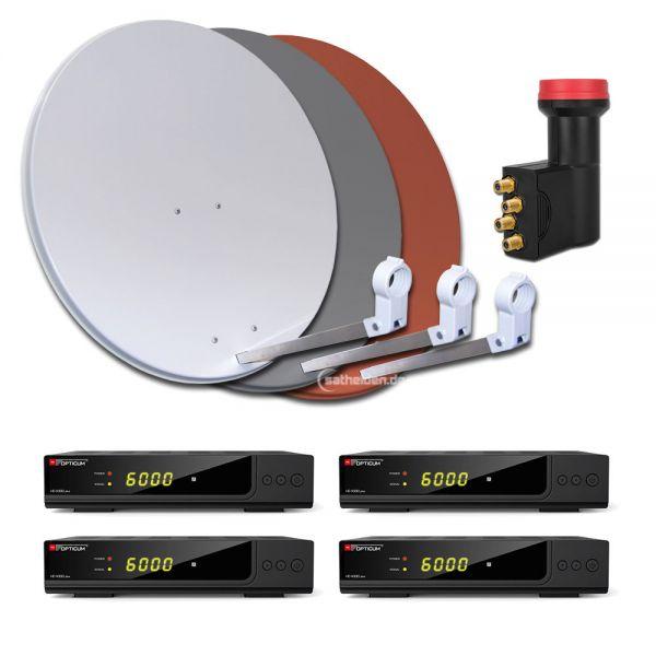 4 Teilnehmer HDTV Sat Anlage HD X300 plus 80cm Stahl Spiegel Antenne Quad LNB