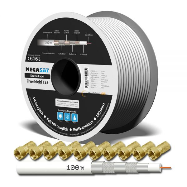 135dB 100m SAT Digital Koax Kabel 5 fach geschirmt für Innen Aussen FULL HDTV 3D