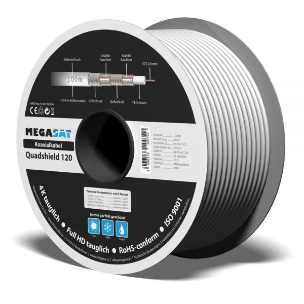 Koaxialkabel Quadshield 120 110 dB 100m 7mm 4-fach geschirmt weiß