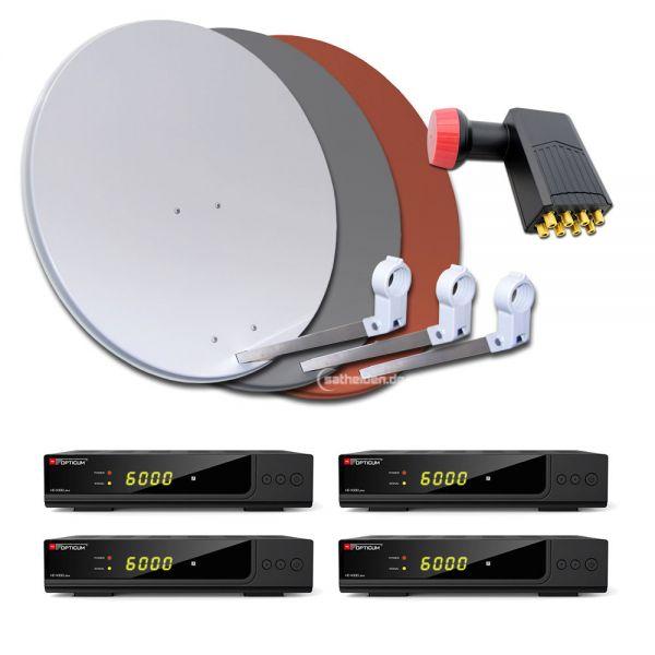 8 Teilnehmer HDTV Sat Anlage 4x HD X300 plus 80cm Stahl Spiegel Antenne Octo LNB