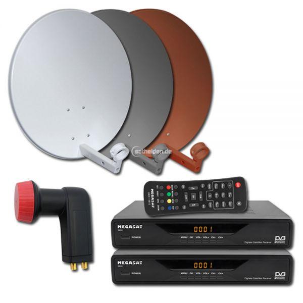 2 Teilnehmer Digitale Sat Satelliten Anlage Receiver 3600 Twin LNB 0,1dB