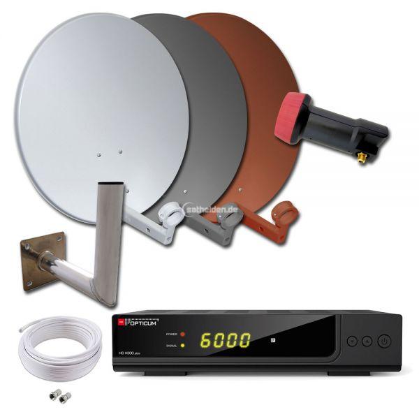 1 Teilnehmer HDTV Sat Anlage HD X300 plus WH SQ Spiegel Kabel