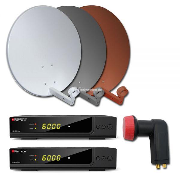 2 Teilnehmer HDTV Sat Anlage HD X300 plus 60cm Spiegel Receiver